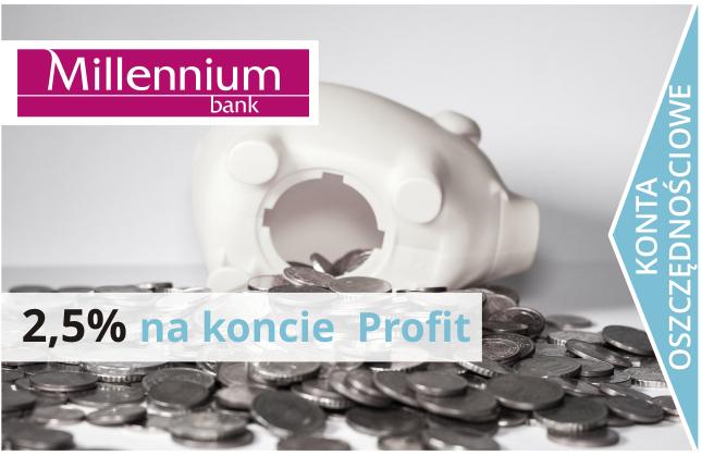 2,5% na koncie oszczędnościowym Profit +150 zł.