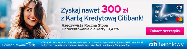 300 zł do portfela i darmowa karta od citibanku